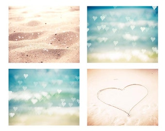 beach photography abstract nautical decor 8x10 11x14 fine art photography heart romantic decor bedroom hearts in sand beige aqua pastel