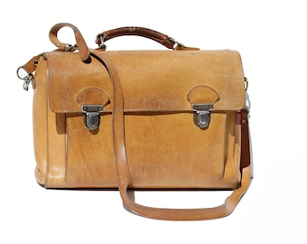 Vintage Natural Tan Leather Briefcase / Messenger / Back Pack Bag