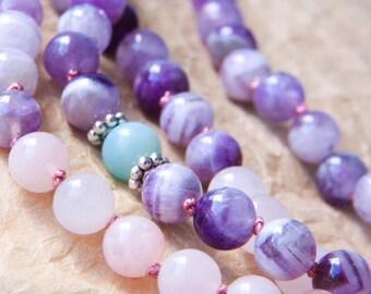 Chevron Amethyst Mala Beads, Yoga Jewelry, Knotted Mala 108, Sterling Silver, Meditation Beads For Love, Healing Energy, Spirituality