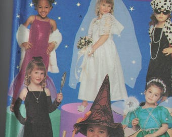 Simplicity 5409 Costume Pattern - Little Girls Princess, Bride,Witch, Flapper and More Costumes Size 3,4,5,6,7,8 UNCUT