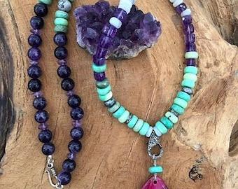 Pave Diamond Necklace   Magenta Malachite   Chrysoprase   Amethyst   Blue Lace Agate   Gemstone   Bohemian