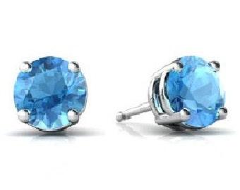 14Kt White Gold Blue Topaz Round Stud Earrings