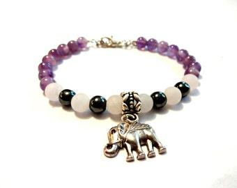 Elephant Bracelet, Elephant Gift, Purple Meditation Bracelet, Yoga Bracelet, Elephant Jewelry, Hematite Bracelet, Amethyst Bracelet, Jewelry