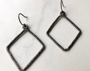 Hammered Dark Patinated Rhombus Shaped Copper Dangle Earrings On Sterling Silver Earwires