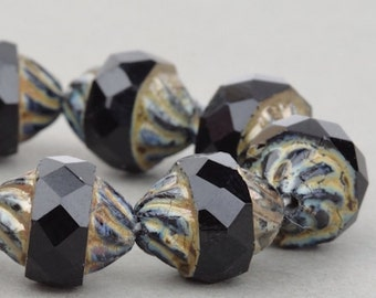 Czech Glass Beads - Jet Black Beads - Spiral Central Cut Beads - Jet Opaque with Picasso Beads - 12x10mm Beads - 10 beads