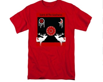 Red Southwestern T-shirt, Uni-Sex Clothing, Digital Elk Design, Red Shirt, Native American Totem Animals, Wearable Art, Casual Wear