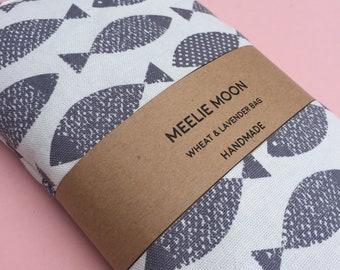 Wheat Bag - Microwavable Lavender & Wheat Bag - Grey Fish fabric - Heat bag, heat pack - reuseable - fish wheat pack - eye pack - natural.