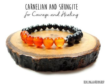 Carnelian and Shungite Energy Bracelet // Negative Energy Protection // Miracle Crystal // Healing Garden Shop