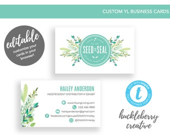 Young Living Business Cards, Young Living Essential Oils, 3.5x2, Easy Edits & Digital Download in Minutes!