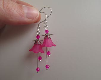Forest flower earrings pink