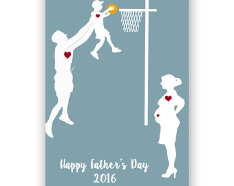 Father's day Gift Guide - Father and son playing basketball, Fine art print, silhouette, wall decor