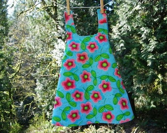 Reversible Toddler Summer Pinafore Dress 2T- READY TO SHIP