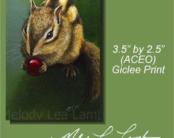 Chipmunk Wildlife Art Melody Lea Lamb ACEO Print