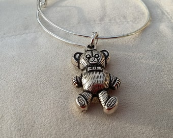 Teddy Bear Stacker Bangle Antiqued Silver bracelet silver gifts under 10 teddy bears picnic bracelet adjustable silvertone gift for her