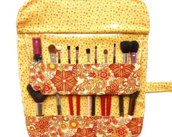 Fabric Makeup Brush Case With 12 Pockets, Travel Brush Storage, Travel Cosmetic Carrier, Holder With Clear Vinyl for Brushes, Makeup Roll