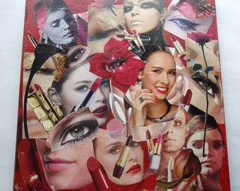 vintage collage on canvas painting - beauty - highlighted 39x39cm