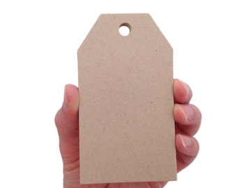 Large Kraft Brown Luggage Tag Style Paper Tags - Create Something Truly Unique!