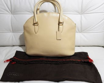 Authenic Vintage COACH Madison Bristol-Made in ITALY--Light Butter Yellow Pebbled Leather Dr --Bowler Bag Huge-Handbag-Dr Bag -Speedy