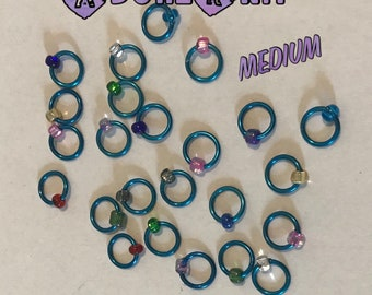 Design YOUR OWN Ring Stitch Markers, ring markers, notions, Bright Blue Stitch markers, knitting, bracelet, necklace,stitchmarkers