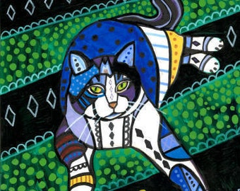 50% SALE- tabby Cat Folk art  Poster Print of painting by Heather Galler (HG864)