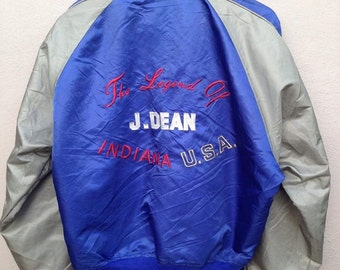 SUPER RARE Vintage 90s James Dean Sukajan Jacket Embroidery Print The Legend Of Indiana USA Copyright 1993 Photo By Roy Schatt