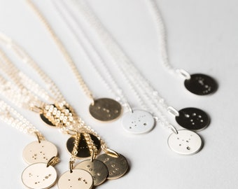 Zodiac Constellation Necklace • Custom Zodiac Sign • Astrology Necklaces  • Disk Necklace in Silver, Gold Fill, or Rose Gold • LN201