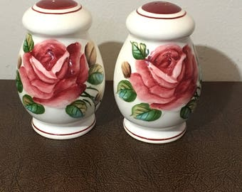 Pair of Americana Rose Salt and Pepper Shakers