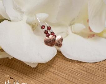 Red jewelry gift for girlfriend, Heart Earrings, Valentine's Gift, Gift For Her, Valentines gift ideas, Valentine Jewelry, Garnet Earrings