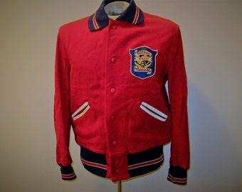 Vintage 50's Wool Car Club, Varsity, Stadium Jacket, Breitbard Athletic Foundation, Felt Patch, Red Wool with Navy knits, SZ 42