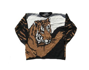 Vintage 80's Retro Tiger Sweater // tiger sweater 1980's // oversize tiger sweater