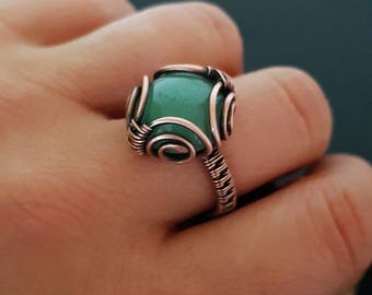 Green aventurine ring wire wrapped -  copper ring size 8- green gemstone ring - woven ring copper - wire wrapped jewelry handmade ring