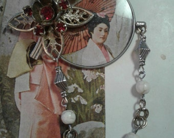 Parasol and blossoms- upcycled assemblage brooch