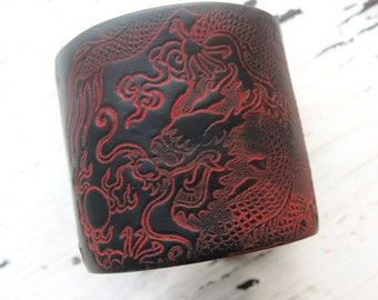 SALE Black cuff bracelet Asian dragon design, handmade jewlery by theshagbag on Etsy