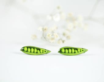 Peas in a pod stud earrings  Vegetable stud earrings  Vegetable jewelry  Miniature food earrings  Vegan gift idea Healthy food jewelry
