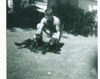 1950s Shirtless Man Outside Petting 2 Black Dogs Summer 50s Vintage Photograph Black White Photo