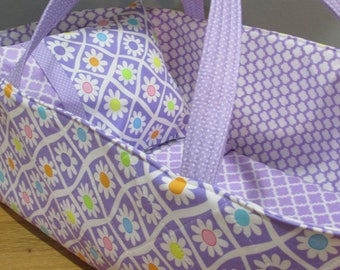 Doll Carrier, Will Fit Bitty Baby and Wellie Wisher Dolls, Daisies with Lavender Lining, 16 Inches Long