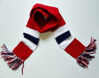 Sports Scarf Red-White-Navy/Crochet
