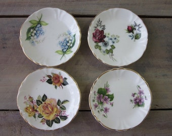 Princess House China Butter Pats Set of Four Floral Design
