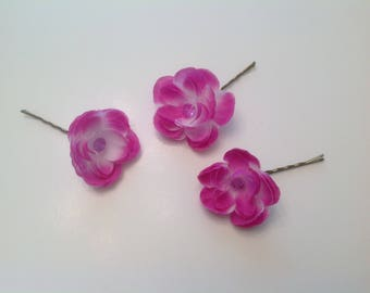 Fuscia Hot Pink and White Hair Pins - Set of 3 - Flower Hair Pins Wedding Hair Pins Prom Hair Pins -  Set of 3