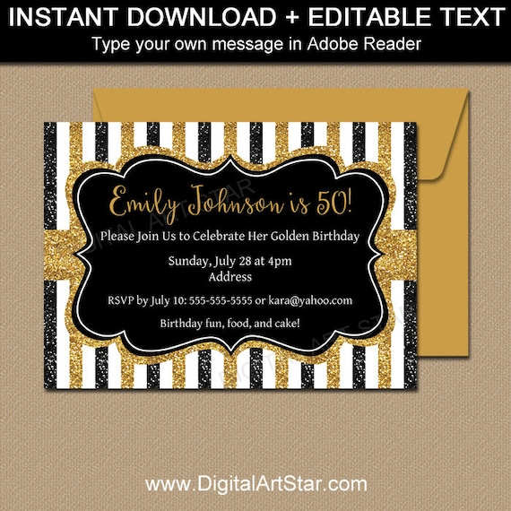 Milestone Birthday Invitation Template 50th Birthday