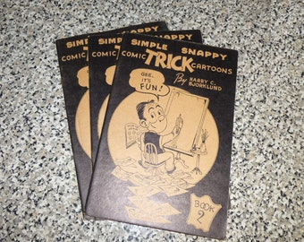 Simple Snappy Comic Trick Cartoons by Harry C Bjorklund. Sold Individually. 1946 Booklet Fun Drawing Techniques.