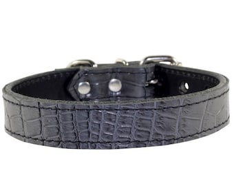 Grey Dog Collar - Embossed Leather Dog Collar - Grey Leather Dog Collar - Grey Dog Collar With Nickle Hardware - Made In USA