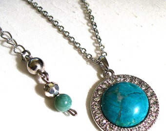 Turquoise Howlite Round Pendant Necklace ~ Halo Pendant Necklace ~ Round Turquoise Howlite Cabochon ~ Adjustable 18 - 22 inches