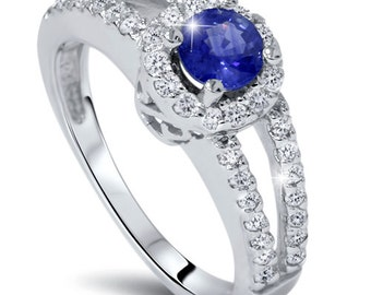 Blue Sapphire Diamond Pave Halo Engagement Ring 1.00CT  14KW Size 7