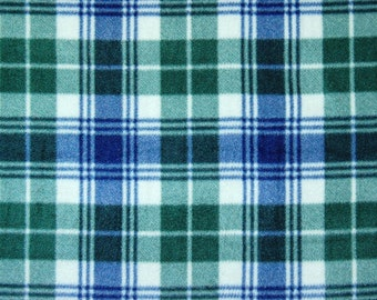 Plaid Hunter and Navy Fleece Blanket - No Sew Tie Quilt