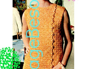 Ladies Dress KNITTING Pattern • PdF Pattern • Knitting Simple Stitch Pattern w Easy To Do Crochet • Glitter Dress Superb Fit • Vintage 1960s