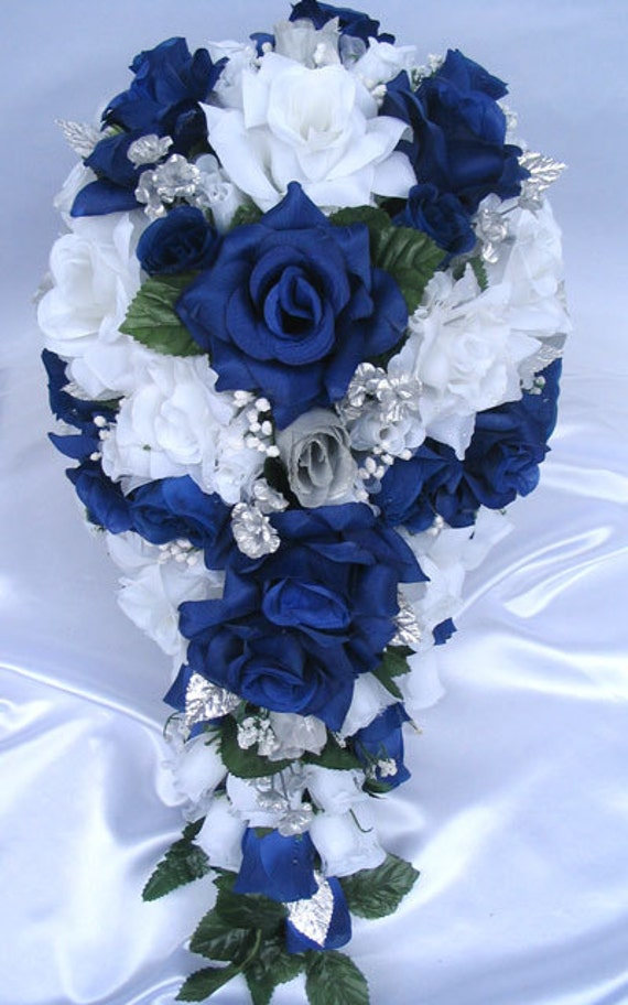dark blue flowers for wedding bouquets 2 wedding bouquet flowers bridal silk cascade blue royal 3308