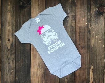 Storm Pooper Bodysuit  - Funny Creeper  -  Storm Pooper with Bow -  Girl Bodysuit - Girl Outfit - Baby Girl Creeper