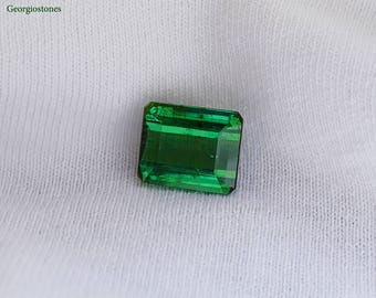 7 ct Loose Green Tourmaline Gemstone - Emerald Cut Tourmaline - 100% Natural Gemstone