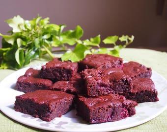 Vegan Chocolate Raspberry Brownies